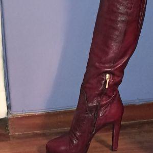 Γυναικείες μπότες δερμάτινες μπορντό Fratelli Karida