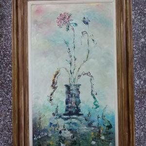 πίνακας ζωγραφικής ελαιογραφία σε χαρντμπολ με διαστάσεις 85 Χ 55 και καθαρές διαστάσεις 64 Χ 39 εκατοστά