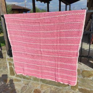 Μάλλινη πλεκτή Κουβέρτα ροζ