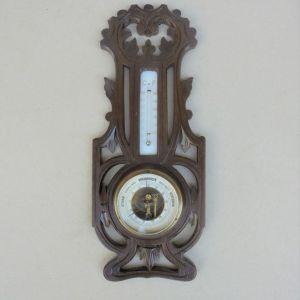 Βαρόμετρο - Θερμόμετρο, επιτοίχιο, ξυλόγλυπτο, ολλανδέζικο, περίπου ενός αιώνα.