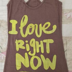 καφέ αμάνικο μπλουζάκι με γράμματα