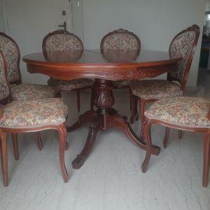 Τραπεζαρία ξυλόγλυπτη ροτόντα με 6 καρέκλες
