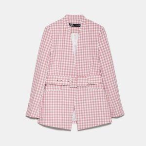 Σακάκι με ζώνη καρώ ροζ - XS