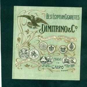 """ΠΑΛΙΑ ΕΤΙΚΕΤΑ ΕΛΛΗΝΙΚΗΣ  ΚΑΠΝΟΒΙΟΜΗΧΑΝΙΑΣ ΣΤΗΝ ΑΙΓΥΠΤΟ  """" DIMITRINO & CO """". Περίπου 1910 . Σε πολύ καλή κατάσταση."""