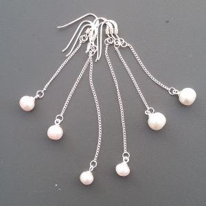 Σκουλαρίκια κρεμάστρα ασήμι 925 με φυσικά μαργαριτάρια
