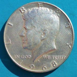 ΗΠΑ ΑΣΗΜΈΝΙΟ ΜΙΣΟ ΔΟΛΆΡΙΟ 1968 - USA 1/2 DOLLAR 1968 SILVER
