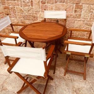 Καθιστικό  σκηνοθέτη 5 ΤΜΧ / τραπέζι & 4 καρεκλες / καθιστικο εσωτερικού χώρου και εξωτερικού χώρου / έπιπλα κήπου / βεραντας / αριστη καταστασγ Αμεταχείριστα / Ποιότητα 3Α