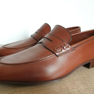 J.R. BARRETT Brown Leather Penny Loafer Shoes Made in Italy Size 46 Ανδρικα Παπουτσια