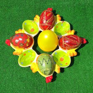 Πασχαλινή αυγοθήκη σε πανέμορφα χρώματα, από πορσελάνη μαζί με 5 πασχαλινά ψεύτικα διακοσμητικά αυγά.