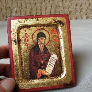 Εικόνα παλαιά ξύλινη, ζωγραφισμένη σε φύλλο χρυσού.Διαστ.8×6,5 εκ.Αθηνα.Ανω Πατήσια.