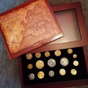 """Συλλεκτική Κασετίνα με κέρματα """"Από το Ηλεκτρο στο Ευρώ"""""""