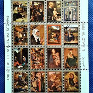 Γραμματόσημα.    Umm-Al-Qiwain. Διάσημη ζωγραφική του Χριστού. 8x10 εκ. 1973.