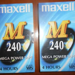 2 κλειστές βιντεοκασέτες Maxell 240 λεπτά η κάθε μία
