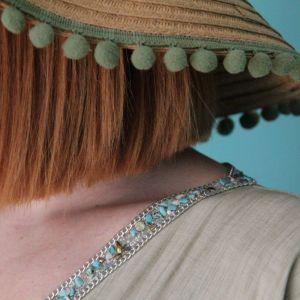 Ψάθινο Καλοκαιρινό Καπέλο με Χακί Pom Pom