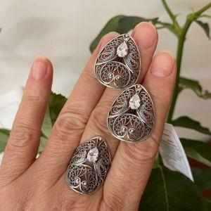 Χειροποίητο Ασημένιο Σετ. Δαχτυλίδι & Σκουλαρίκια