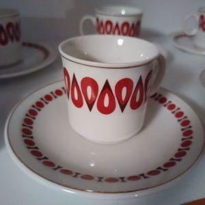 Σετ 6 φλυτζάνια του καφέ με τα πιατάκια τους Vintage