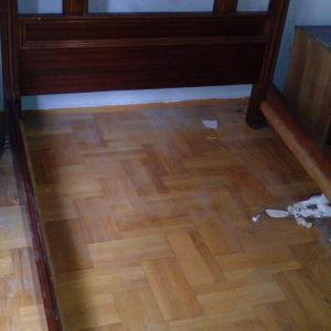 Κρεβάτι διπλό ρουστίκ καρυδιά μασίφ & 2 κομοδίνα