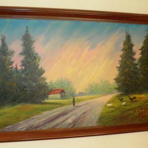 Πίνακας ζωγραφικής με θέμα την ύπαιθρο.