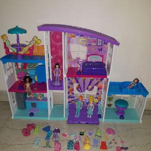 Polly pocket μεγάλο σπίτι & αξεσουάρ  και 3 καταστήματα, στάβλος & κούκλες & αξεσουάρ