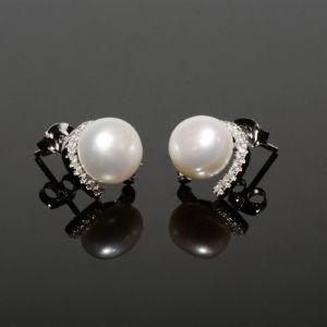 Ασημένια σκουλαρίκια 925 με μαργαριτάρι και CZ