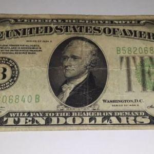 1934 Α 10$ Green Shield Τen Dollar Bill / Χαρτονόμισμα Αμερική Δέκα Δολάρια 1934 A