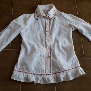 Πουκάμισο vintage λευκό με δαντέλα βελονάκι λευκό κόκκινο