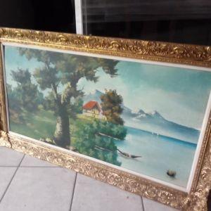Πίνακας ζωγραφικής με θέμα Σπίτι στην λίμνη