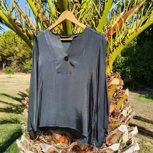 ZARA σατέν μπλούζα με μακριά μανίκια
