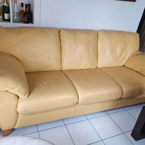 Τριθέσιος Δερματινος καναπές