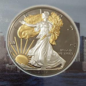 Proof silver and gold USA 2017 1oz άθικτο σε κασετίνα.
