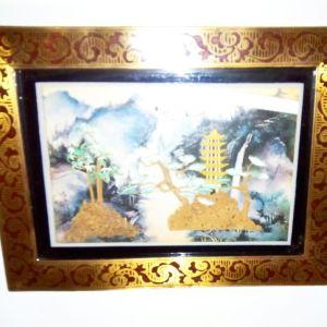 Κινέζικο, διακοσμητικό κάδρο, τοπιογραφία, μικρού μεγέθους.