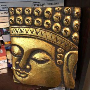 Ξυλόγλυπτο διακοσμητικό Βούδας gold edition