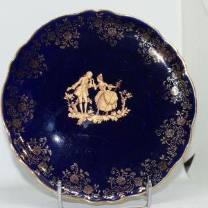 Πιάτο Limoges πορσελάνη μπλε χρυσό 1980s