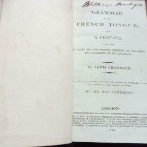 GRAMMAR OF THE FRENCH TONGUE 1812 EDITION