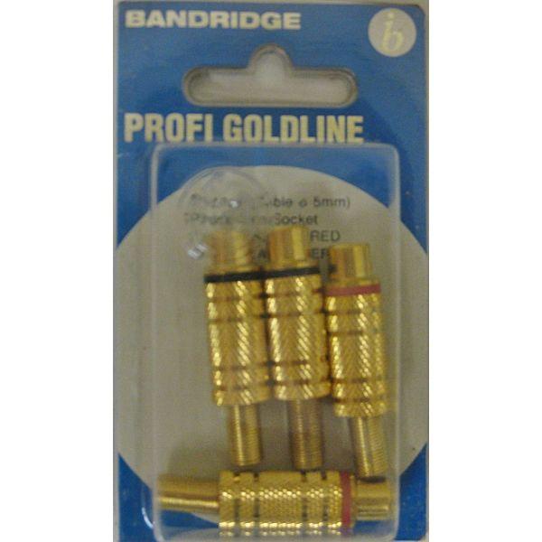 BANDRIDGE PG-1123(Cable diametros 5 mm)Phono Line Socker -GOLD (2 X BLACK + 2 X RED)