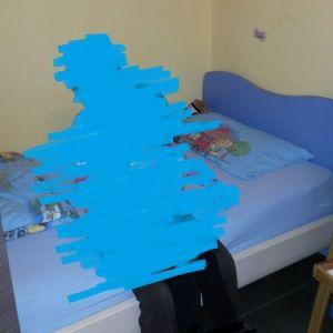 Μονό παιδικό κρεβάτι, γαλάζιο/οξυά, για στρώμα 90x200cm (δεν συμπεριλαμβάνεται)