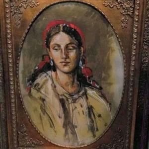 Εξαιρετική  ελαιογραφία με τζάμι, του γνωστού Θεσσαλονικιου ζωγραφου, Λάζαρου Παντου.