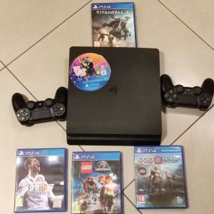 PS4 SLIM ME 1T + GAMES + 2 ΧΕΙΡΙΣΤΗΡΙΑ