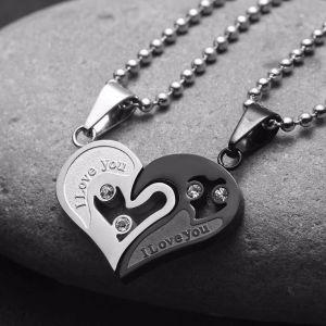 Αλυσίδες δύο ζευγαρωμένες καρδιές μενταγιόν ΓΙΑ Ζευγάρια αγάπη
