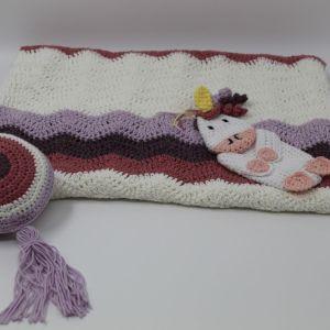 Κουβέρτα χειροποίητη πλέκτη λίκνου κούνιας παιδικό κρεβάτι κύμα κορίτσι