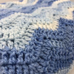 χειροποίητη πλέκτη κουβέρτα λίκνου κούνιας 1,10 x 1,20 σύννεφο μπλε