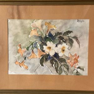 Ακουαρέλα Λουλούδια με υπογραφή Λαζαρίδη