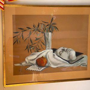 Πίνακας ΝΕΚΡΉ ΦΥΣΗ. Υπογραφή Κύρκου. Μεγάλος πίνακας του 1976. Διαστάσεις: Καθαρή διάσταση του έργου 64 x 48 εκατοστά. Μαζί με την κορνίζα 79 x 65 εκατοστά.