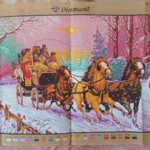 Άμαξα με άλογα στο χιόνι τυπωμένος πίνακας σε καμβά για κέντημα