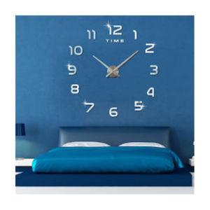 Ρολόι τοίχου 3d ZH 002 ασημί
