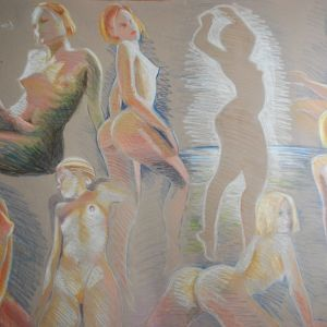 συνθεση γυμνο 8 ποζες . ζωγραφος αντωνης στεφανακος