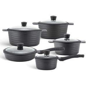 Edenberg Σετ αντικολλητικά μαγειρικά σκεύη 10 τμχ σε μαύρο χρώμα EB-9185