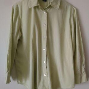 """πουκάμισο LANDS""""END  size 8 US Small   regular 3/4 μανίκι  χρώμα απαλό λαχανί  μεταχειρισμένο"""