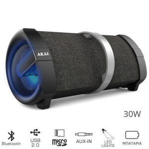 Akai ABTS-V1 Φορητό ηχείο Bluetooth με USB, LED, micro SD και Aux-In – 30 W