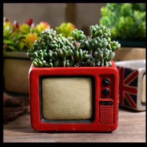 τσιμεντενιο χειροποιητο γλαστρακι  τηλεοραση